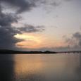 能登島の夜明け(右に能登島大橋)